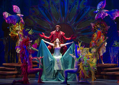 Melvin Abston as Sebastian, Alison Woods as Ariel and the cast of Disney's The Little Mermaid presented by Broadway Sacramento at the Community Center Theater Feb. 2-7, 2016. Photo by Bruce Bennett, courtesy of Theatre Under The Stars.