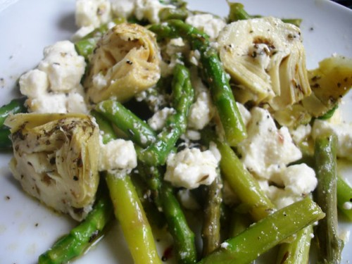 Artichoke , Asparagus and Feta Salad