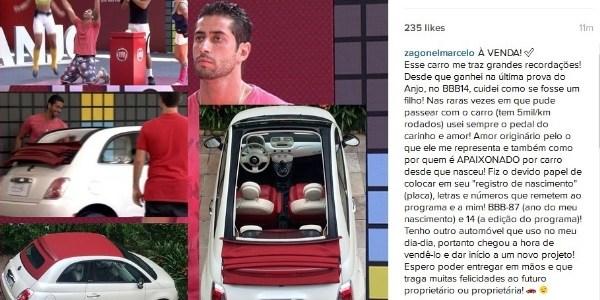 Ex-BBB anuncia venda de carro ganho como prêmio no reality show