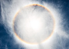 Day 651 - A circular rainbow where the sun is burning through the clouds. The humidity has been maddening, I was drenched in sweat by eight this morning. But for the first time in Argentina the road I'm walking has a shoulder! It's a dream. I can actually