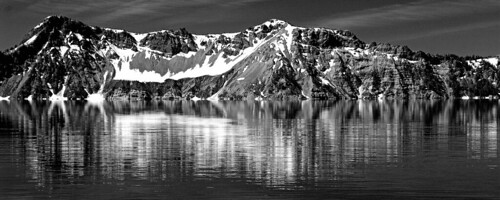 Crater Lake in Black and White