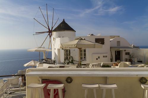 Oia, Bar an der Windmühle