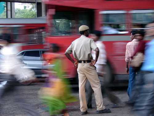Home Guard guiding traffic with the Mumbai Police