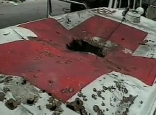 Red Cross Ambulence bombed in Lebanon 2006 AP photo