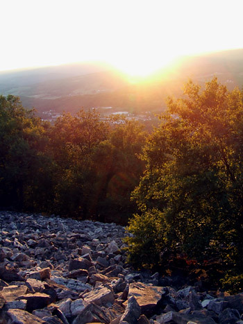 talus slope at sunset