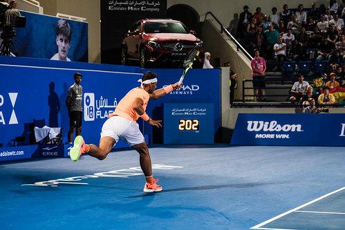 """Rafael Nadal struggles to return Milos Raonic's Service at 202 km/h • <a style=""""font-size:0.8em;"""" href=""""http://www.flickr.com/photos/125636673@N08/31990029415/"""" target=""""_blank"""">View on Flickr</a>"""