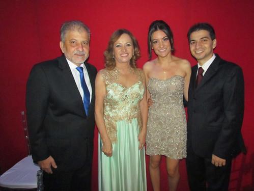 Chico e Cecília com a nora, Laís e o filho, Fred