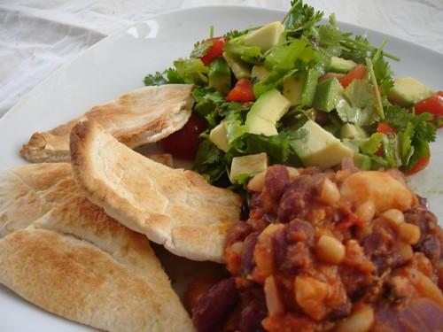 Bean Chill with Avocado , Coriander, Tomato, Chilli and Lemon Salad