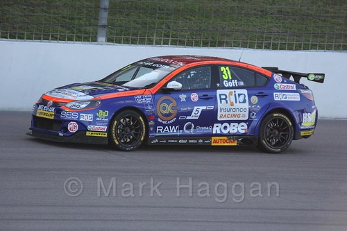 Jack Goff in BTCC action at Rockingham 2015
