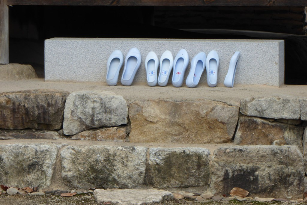 Shoes outside the temple