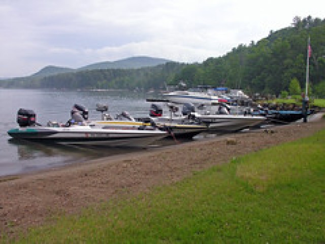 Bass Fishing Boats Near Shore