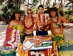 bob and dave at starsand private beach club, guam, circa 1995