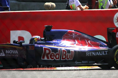 Max Verstappen on the green flag lap before the 2015 Belgium Grand Prix