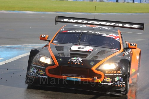 The Oman Racing Team Aston Martin V12 Vantage GT3 of Rory Butcher and Liam Griffin in British GT Racing at Donington, September 2015