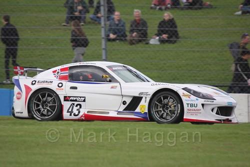 The Century Motorsport Ginetta G55 GT4 of Aleksander Schjerpen and Fredrik Blomstedt in British GT Racing at Donington, September 2015