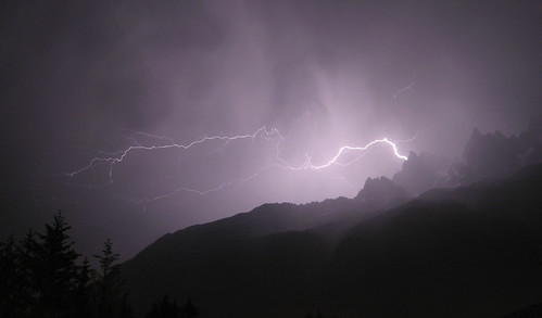 Thunder Storm over the Aiguiiles de Chamonix by WhiteGoldWielder.