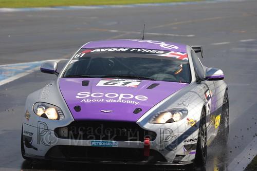 The Academy Motorsport Aston Martin V8 Vantage GT4 of Will Moore and Dennis Strandberg in British GT Racing at Donington, September 2015