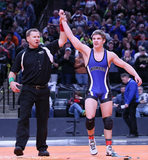 138AA - 1st Place Match - Keaten Schorr (Kasson-Mantorville) 43-3 won by decision over Morgan Fuenffinger (Hibbing) 32-1 (Dec 8-1)