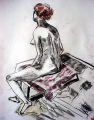 seated female redhead