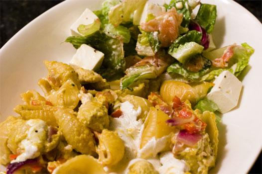 Curry turkey lasagna & smoked salmon mozzarella salad