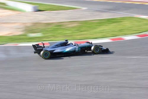 Valtteri Bottas in his Mercedes in Formula One Winter Testing 2017