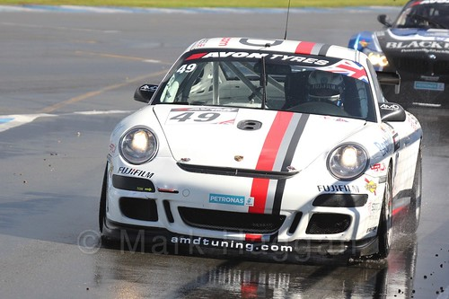 The AmDtuning.com Porsche 997 GT4 of Graham Coomes and Jake Hill in British GT Racing at Donington, September 2015
