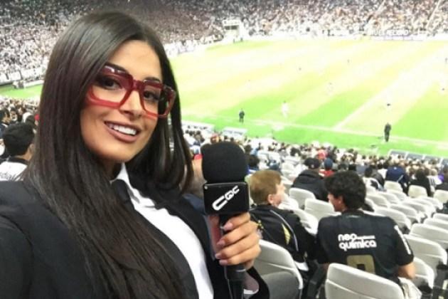 Aline Riscado grava como repórter do 'CQC'
