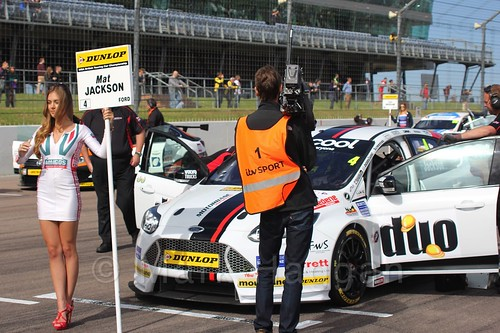 Mat Jackson's grid board on the grid at the BTCC weekend at Rockingham, September 2015