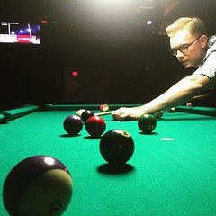 In a biker bar playing pool with an Information Science grad student. #TheWorldWalk #pool #austin #twwphotos
