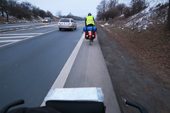 Rolling into Prague along the main way