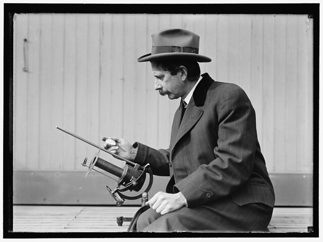 Identified!  [Charles Greeley Abbot, astrophysicist and Secretary of the Smithsonian, with his device: a silver-disc pyrheliometer which measures direct beam solar irradiance]   (LOC)