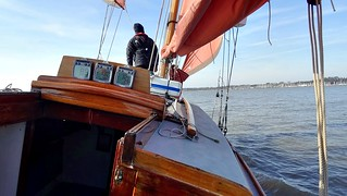 Nancy Blackett heads up the River Orwell, 21st March 2018. Photo by Bill Douglas