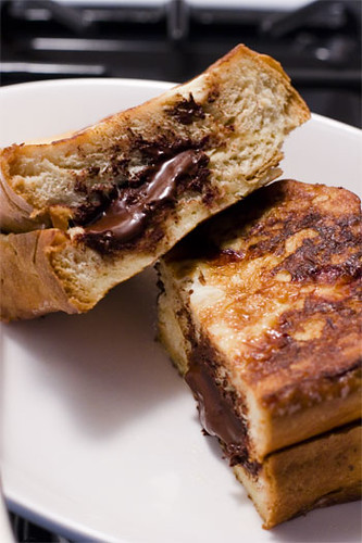 French toast with chocolate inside