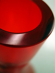 red glass vase: close-up