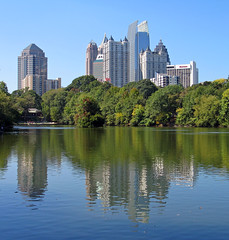 Piedmont Park in Midtown Atlanta with city skyline. Photo by amiko