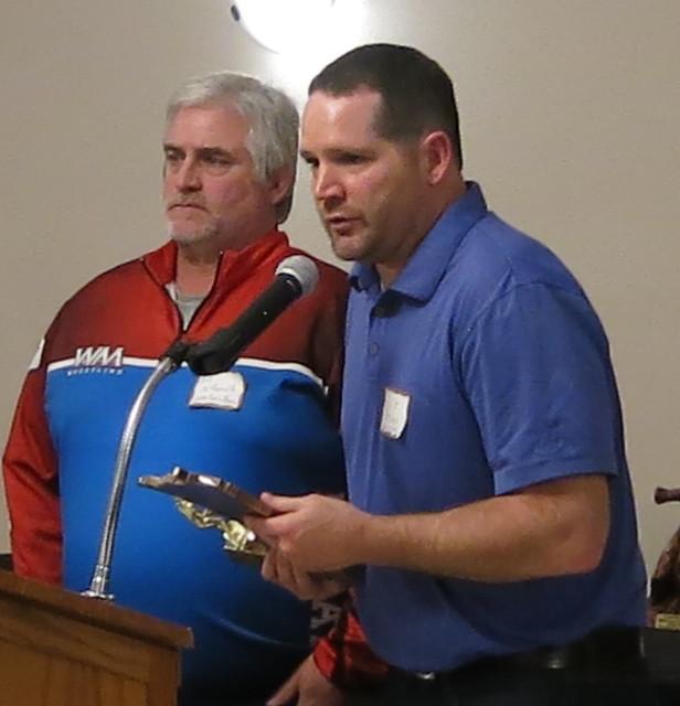 Watertown-Mayer/Mayer Lutheran Coaches Bill McDonald and Kurt Becker representing the late Joe Traen. 180428AJF0718