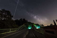 Chain bridge and milkyway with ISS pass