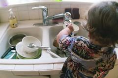 truman washing dishes