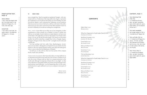 sample layout - table of contents