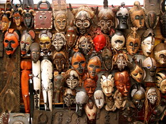 Masks for sale, Greenmarket Square, Downtown Cape Town