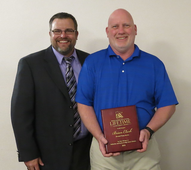 Kip Lynk and Lifetime Achievement Award recipient Brian Clark of Norwood Young America. 180428AJF0721