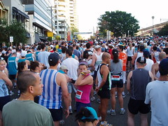 The Half Marathon crowd begin to gather - Mils...