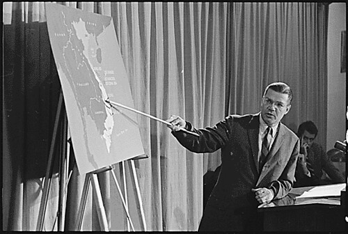 Robert McNamara talks about Vietnam to the press - National Archives photo