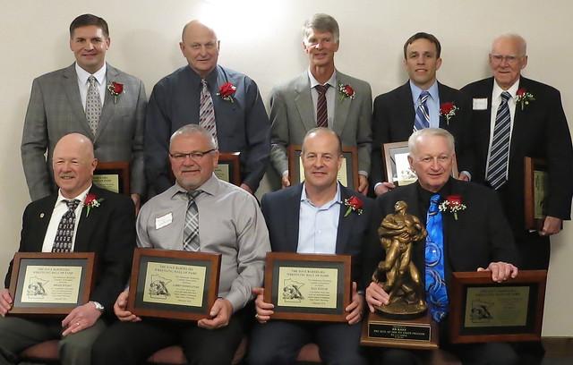 2018 MWCA Dave Bartelma Hall of Fame inductees. Front (L-R): Roger Wilson, Larry Goodnature, Paul Kuznik and Ed Kane. Back (L-R): Chris Nelson, Jim Williams, Mark Jensen, Pat McNamara and Merv Jensen. 180428AJF0731
