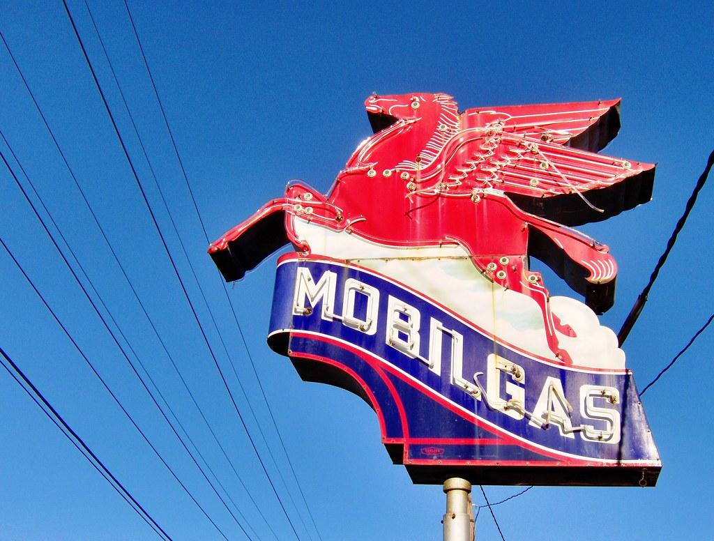 Mobil Oils - Flatbush Avenue & Mobil Gas by Chris Adams, Lonely Pictures