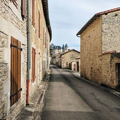 Day 768 - The morning walk through Verteuil-sur-Charente had a heck of a backdrop. Savannah and I will do a half-day today since our hotel reservation is for tomorrow and only 40km away. Hopefully my new cards will arrive Monday. #Theworldwalk #travel #fr