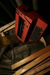 Orange, broken typwriter