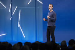 Facebook CEO Mark Zuckerberg delivers keynote speech at McEnery Convention Center on May 1, 2018 in San Jose, California. (Photo by Yichuan Cao/Sipa USA)
