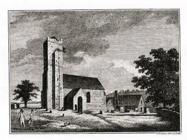 Engraving of Abbenhall church circa 1786