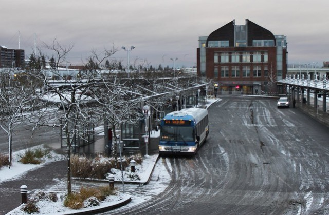 Everett Station on a snowy day